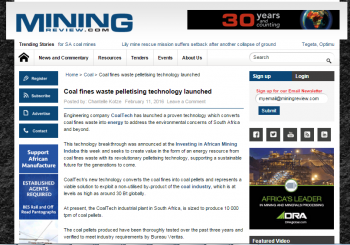 Mining Review: Coal fines waste pelletising technology launched