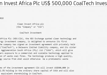 Clean Invest Africa Plc (CIA) has announced that its first investment would be in CoalTech LLC and Coal Agglomeration South Africa (Pty) Ltd.